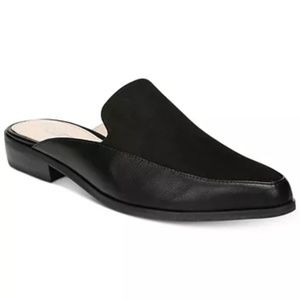 Bar III Hellen Black Leather Suede Mule Slip-on